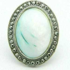 Blue White Mother of Pearl Shell Faux Marcasite